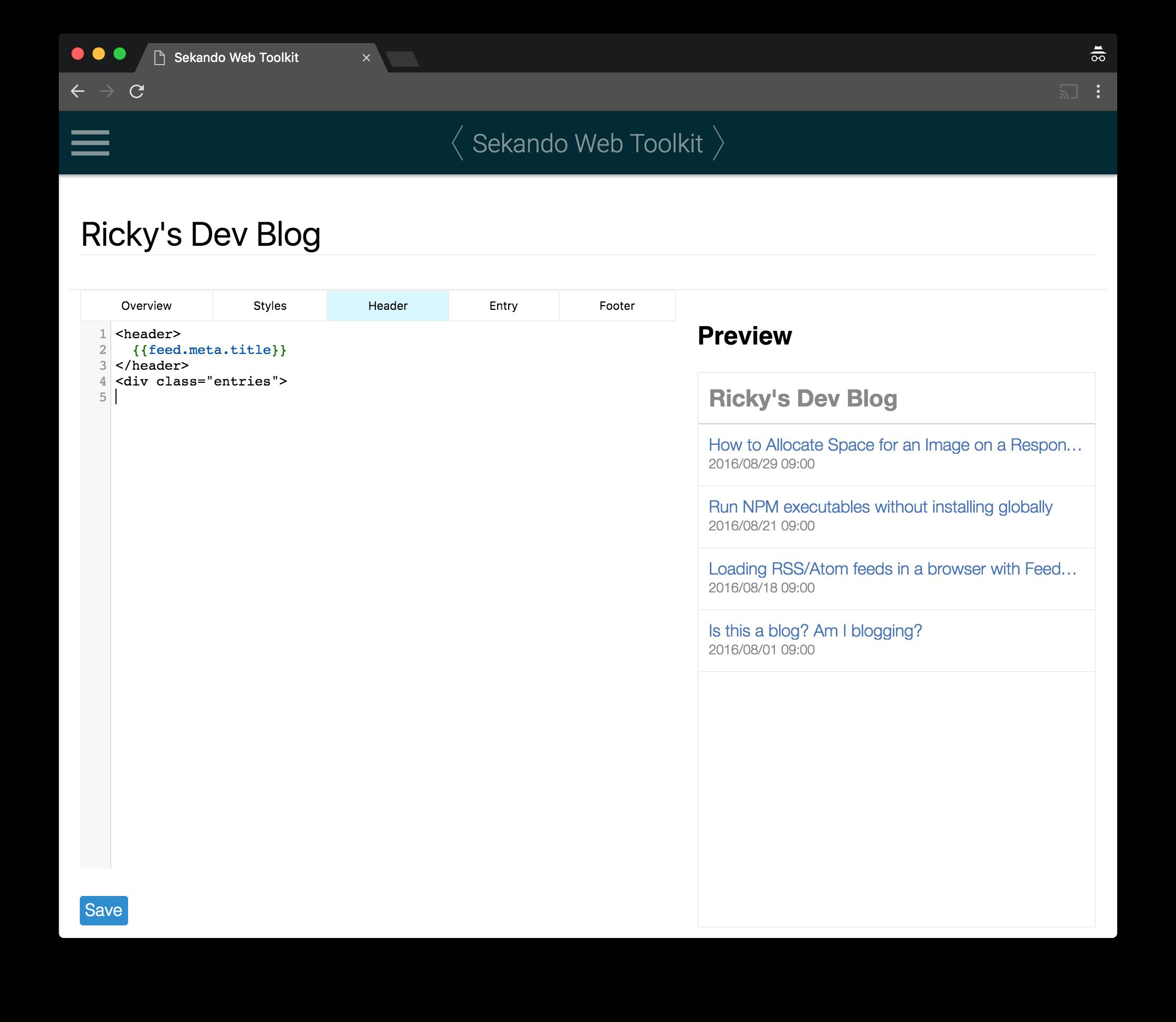Customize a Feed Frame | Sekando Web Toolkit Docs